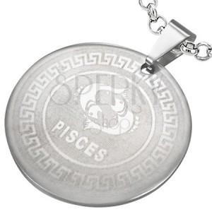 Oceľový prívesok - kruh so znamením zverokruhu RYBY