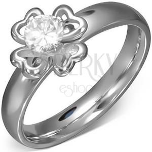 Oceľový prsteň s kontúrou štvorlístka a čírym zirkónom