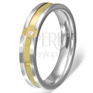 Prsteň z nerezovej ocele - krížený pás zlate farby s čírym kamienkom