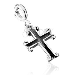 Patinovaný prívesok zo striebra 925 - dutý kríž