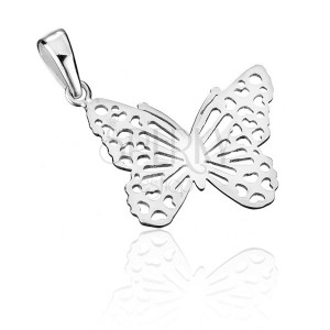 Strieborný prívesok 925 - plochý filigránový motýľ