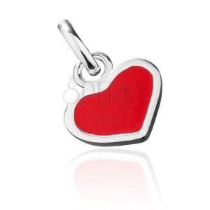 Strieborný prívesok 925 - červené srdce so strieborným okrajom