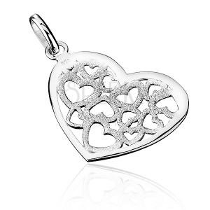 Prívesok zo striebra 925 - pieskované filigránové srdce