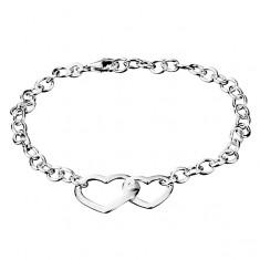 Šperky eshop - Retiazka na ruku zo striebra 925 - dve spojené srdcia AA19.13