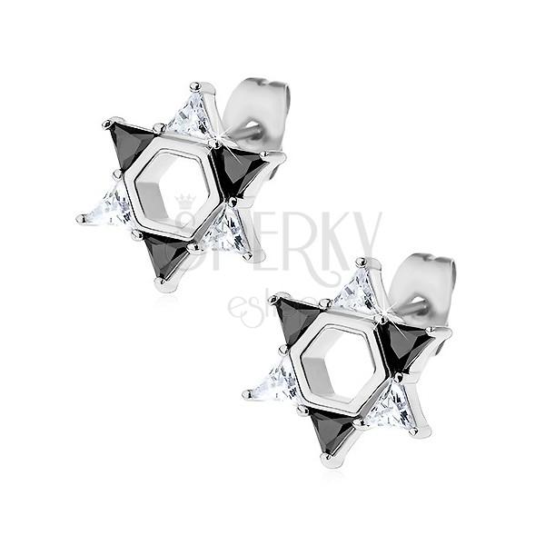 Náušnice z ocele 316L, Dávidova hviezda z čírych a čiernych zirkónov