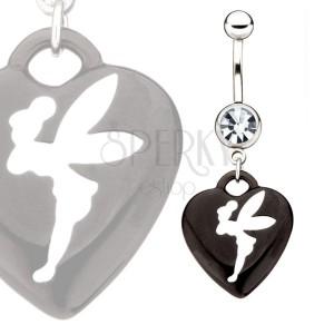 Oceľový barbell - zirkón, čierne srdce s bielou vílou