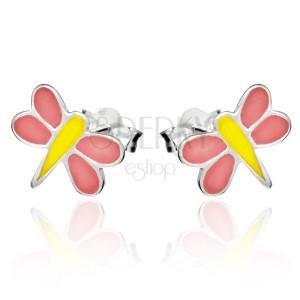 Puzetové náušnice zo striebra 925 - ružovo-žltá vážka