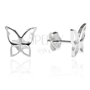 Puzetové náušnice zo striebra 925 - lesklý obrys motýľa