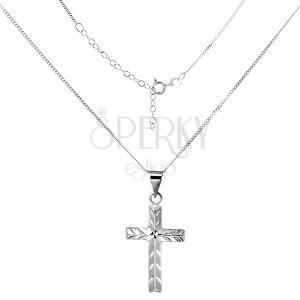 Ligotavý náhrdelník - krížik so šikmými zárezmi, striebro 925