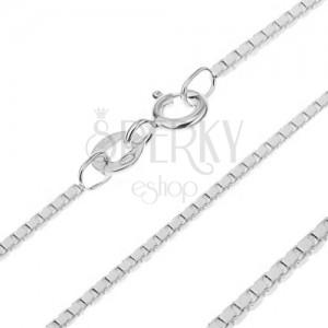 Strieborná retiazka 925 - prepojené lesklé kocky, 1 mm