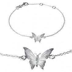 Náramok zo striebra 925 - gravírovaný motýlik na retiazke