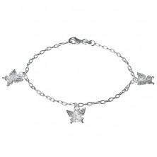 Strieborný náramok - gravírované motýle na retiazke, striebro 925