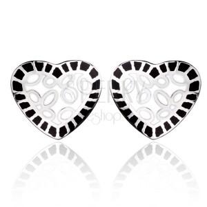 Oceľové náušnice - biele srdce s čiernym lemom