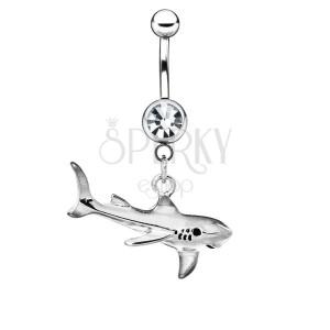 Oceľový piercing do bruška - žralok s patinou