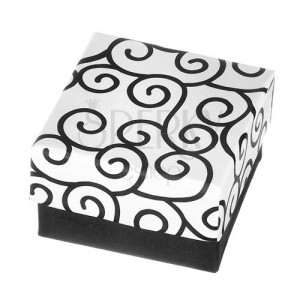 Krabička na náušnice - čiernobiely povrch s točeným vzorom