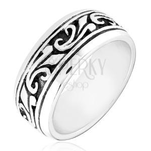 Strieborný prsteň 925 - obrúčka s vyrezávaným ornamentom