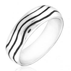 Strieborný prsteň 925 - zaoblená obrúčka s vlnkami