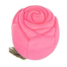 Šperky eshop - Zamatová krabička na prsteň - ružová ruža s lístkami Y31.2