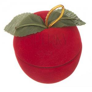 Zamatová krabička na prsteň - jablko s lístkami
