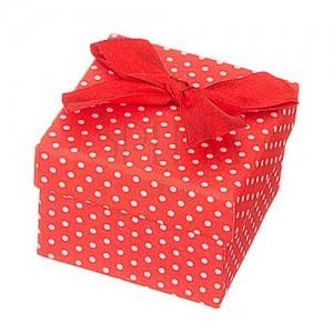 Darčeková krabička na šperk - biele bodky s mašľou