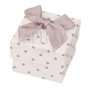 Darčeková krabička na šperk - sivé bodky s mašľou