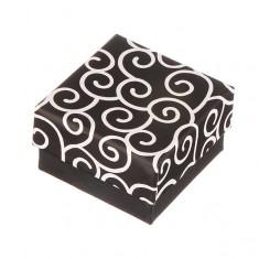 Šperky eshop - Krabička na náušnice - čierna s točeným motívom Y27.12