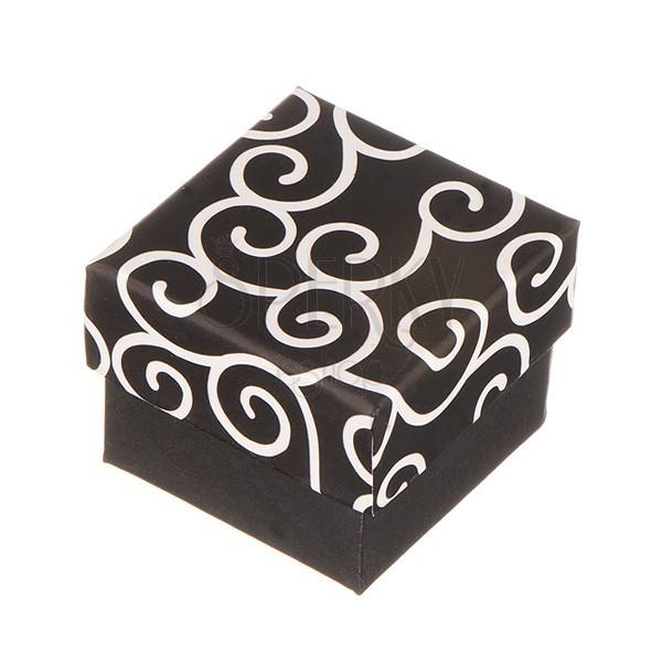 Krabička na prsteň - čierna s bielymi ornamentmi