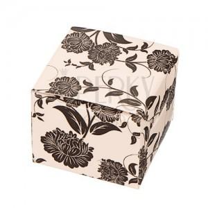 Darčeková krabička na náušnice - čierne kvety na béžovom podklade