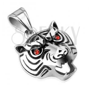 Oceľový prívesok - lesklá hlava tigra s červenými očami