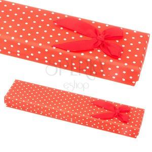 Červená darčeková krabička na náramok - biele bodky s mašľou