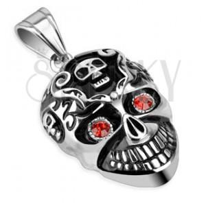 Oceľový prívesok s patinou - lebka a červené kamienky