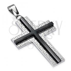 Oceľový prívesok - kríž s ornamentami a čiernym stredom