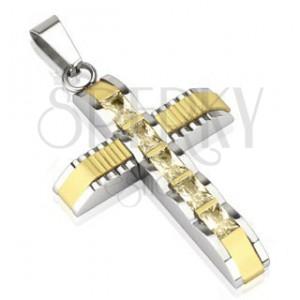 Oceľový prívesok - kríž so zirkónmi, stred zlatej farby