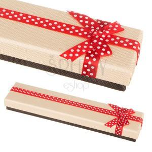 Béžovo-hnedá krabička na náramok s bodkovanou stuhou