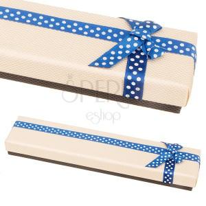Béžovo-hnedá krabička na náramok s modrou stuhou