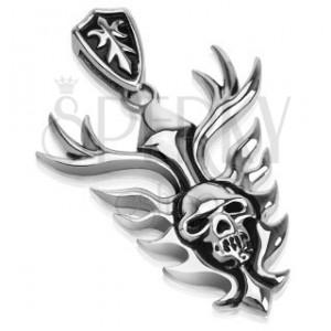 Oceľový prívesok - horiaci trón nad lebkou, štít s erbom