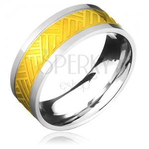 Oceľový prsteň - zlato-striebornej farby s pruhovaným pleteným vzorom