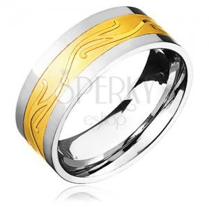 Oceľový prsteň - zlato-striebornej farby so zvlneným ornamentom