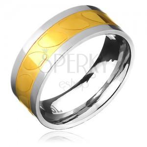 Obrúčka z ocele - zlato-strieborná farba, motív šikmých oválov