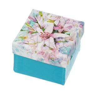 Dekorovaná krabička na šperk - tyrkysová s potlačou ľalií