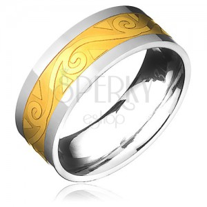 Oceľový prsteň - zlato-striebornej farby s motívom špirál vo vlnke