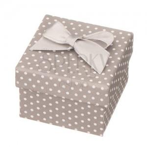 Sivá darčeková krabička na šperk - biele bodky s mašľou