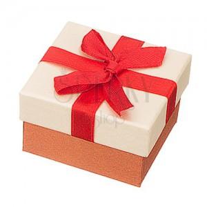 Darčeková krabička na šperk - brondzovo-béžová s červenou stuhou