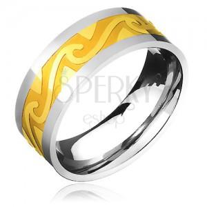 Dvojfarebná oceľová obrúčka - pás zlatej farby, motív búrlivých vĺn