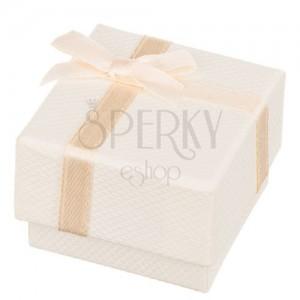 Darčeková krabička na prsteň v béžovej farbe s mašľou