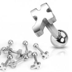 Šperky eshop - Piercing do ucha z chirurgickej ocele - hladký kríž AA24.16
