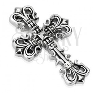 Mohutný oceľový prívesok - dekorovaný kríž s patinou