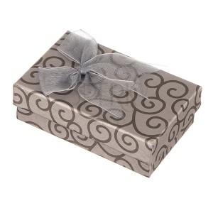 Sivá krabička na šperky s točeným vzorom a lesklou mašľou
