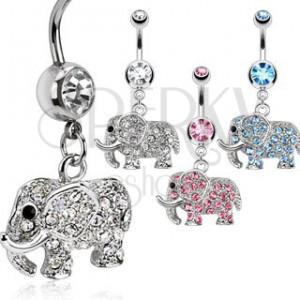 Piercing do pupku - trblietavý sloník