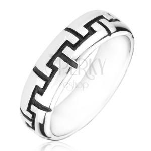 Strieborný prsteň 925 - čierne gravírované zúbky